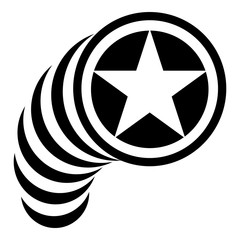 Star in circle icon, simple style