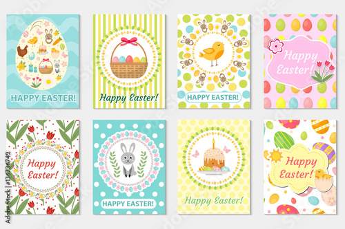 Happy Easter Greeting Card Collection, Flyer, Poster. Spring Cute