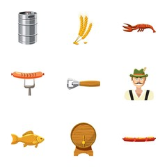 Oktoberfest icons set, cartoon style