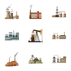 Industrial complex icons set, cartoon style