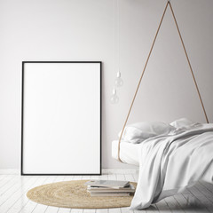 mock up poster frame in hipster bedromm interior background, scandinavian style, 3D render, 3D illustration