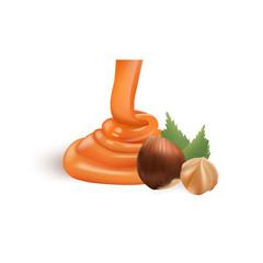 Hazelnut with liquid caramel. 3d Vector Illustration