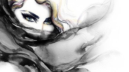 Wall Mural - Woman face. Fashion illustration. Watercolor painting