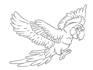happy smiling cartoon parrot coloring page