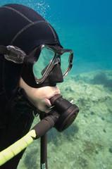Scuba diver's face