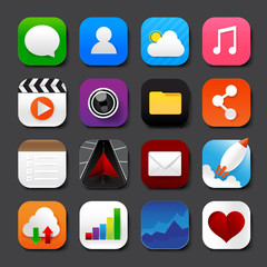 Set of mobile app and social media icons vector eps10 set 001