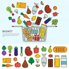 Basket with different products