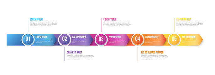Infographics Arrows Template 5 steps