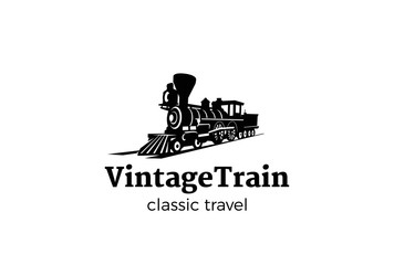 Vintage Train silhouette Logo design Railroad transport classic