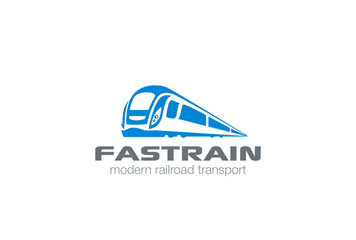 Modern Train Logo design. Monorail subway railway transport icon
