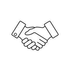 Handshake business icon outline, vector.