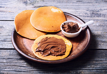 Pancakes with chocolate spread