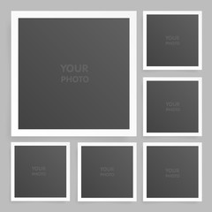 Square photo frame set mock up with shadow. Vector illustration