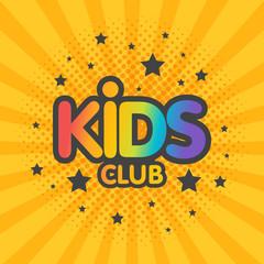 Kids club letter sign poster vector illustration