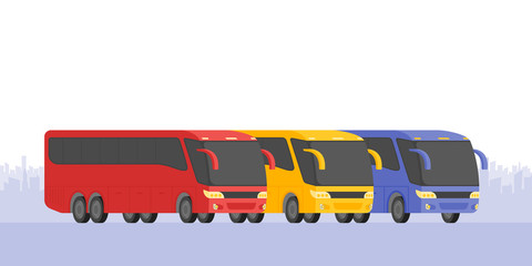 Corner view three bus on the road vector illustration