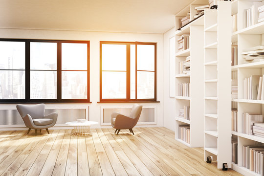 Home library with two windows, toned
