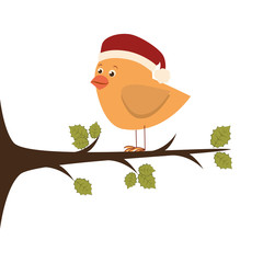 bird with christmas hat vector illustration design