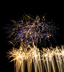 Colorful fireworks on black background at international competit