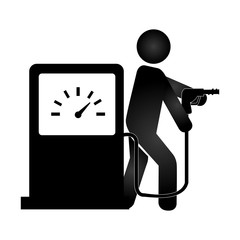 silhouette pictogram male with fuel station vector illustration