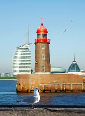 historische Mole in Bremerhaven mit Möwen