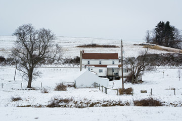 View of a snow covered farm, near Jefferson, Pennsylvania.