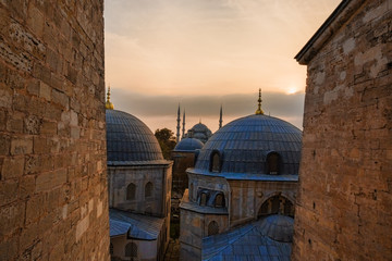 View of the Blue Mosque Rooftops at Sunset in Istanbul, Turkey