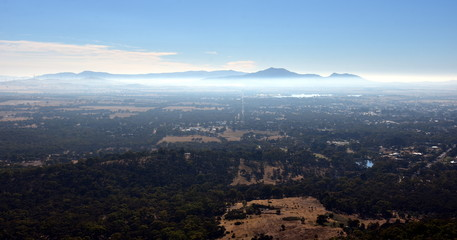 Early morning View from One Tree Hill Lookout (Ararat, VIC Australia). Broad panorama of the countryside in Western District of Victoria.
