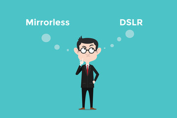 confuse to choose for buying mirrorless vs dslr camera and comparing its benefits illustration with white bubble text