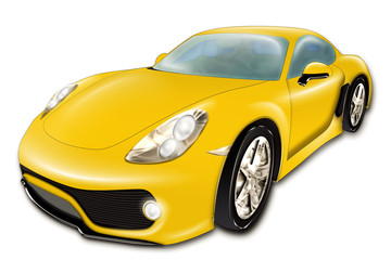 A digital drawing of a yellow modern sport car, isolated on white background