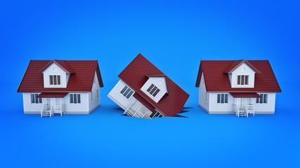 house on the break, concept. 3d rendering