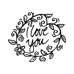 I Love You Hand Lettering Greeting Card with Floral