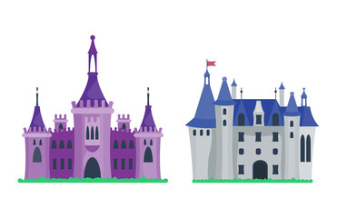 Cartoon castle architecture vector illustration