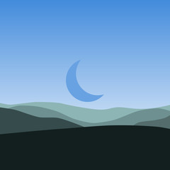 Silhouette of the hills and the landscape of the moon vector art
