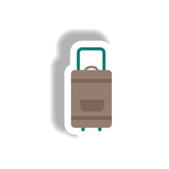 stylish icon in paper sticker style travel suitcase