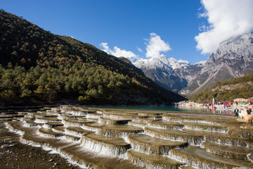 Blue moon valley in lijiang city ,China. It at the foot of Jade Dragon Snow Mountain, gets the name because White Water River flowing through like a blue crescent in the sunlight.