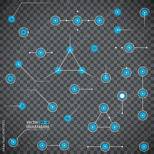 Hud elements Sci fi web design light points Transparent background