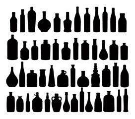 Silhouettes of bottles - vector set