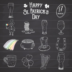 St Patricks Day hand drawn doodle icons set, with leprechaun, pot of gold coins, rainbow, beer, four leef clover, horseshoe, celtic harp and flag of Ireland vector illustration on chalkboard