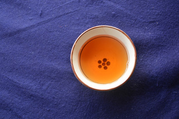 Cup of  Japanese  hot tea on table