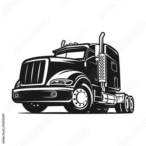 truck black and white vector illustration stock image and royalty