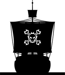 Cartoon Pirate Ship in Silhouette