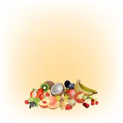 фрукты и ягоды на светлом фоне, векторная иллюстрация