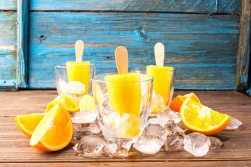 Summer Popsicles  orange juice frozen on a stick