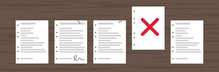 Dokument hervorgehoben - Kreuz - Fehler