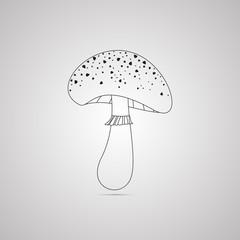 Векторная иллюстрация иконка простой символ плоский для веб amanita мухомор гриб поганка