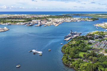 Aerial view of USS Arizona and USS Missouri Memorials at Ford Is