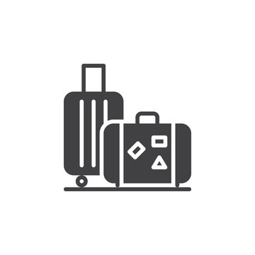 Baggage, luggage icon vector, filled flat sign, solid pictogram isolated on white. Symbol, logo illustration