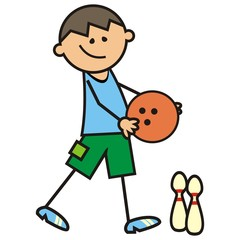bowling, boy and bowling bal, vector icon