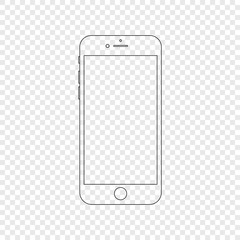 Smartphone. Modern phone in linear style. Smartphone isolated on transparent