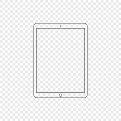 Tablet. Modern tablet computer in linear style. Tablet isolated on transparent